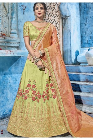 Green and Peach silk Indian wedding lehenga choli 1006