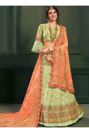 Green color silk Indian wedding lehenga choli 601