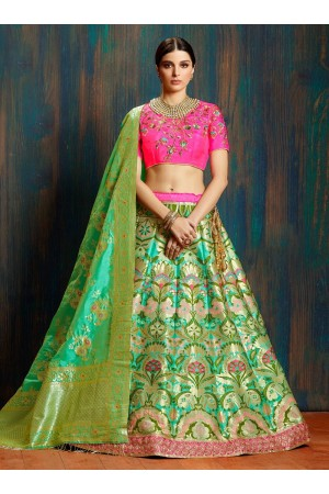 Green pink pure banarasi silk Indian wedding lehenga choli 62006