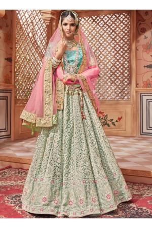 Light blue color net Indian wedding lehenga choli 4607