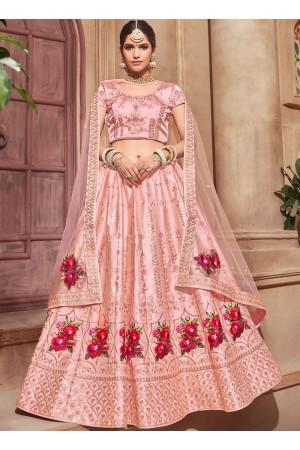 Light pink color satin Indian wedding lehenga choli 4608