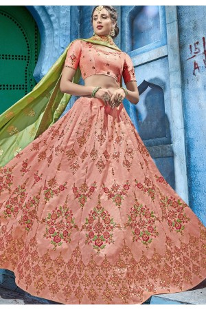 Light pink silk Indian wedding lehenga choli 1003