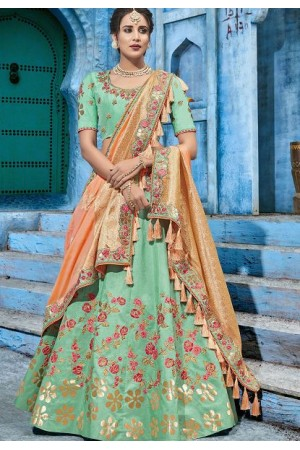 Mint green silk Indian wedding lehenga choli 1001