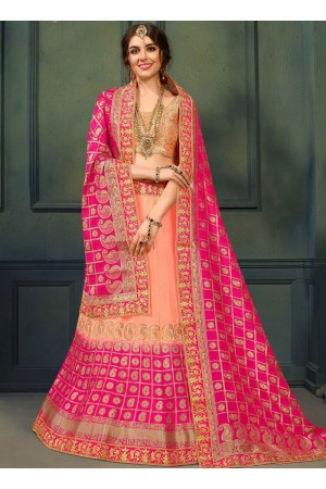 Peach and Gajri color silk Indian wedding lehenga choli 607