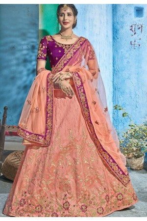 Peach purple silk Indian wedding lehenga choli 1005