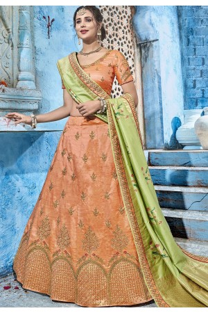 Peach silk Indian wedding lehenga choli 1012