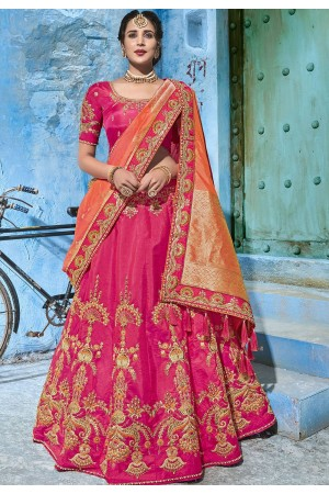 Pink silk Indian wedding lehenga choli 1004