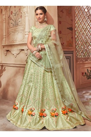 Pista green satin Indian wedding lehenga choli 4602