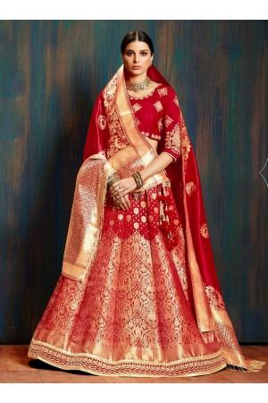 Red pure banarasi silk Indian wedding lehenga choli 62005