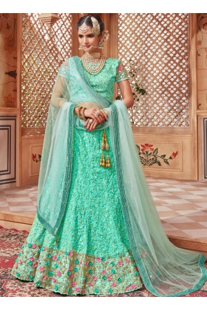 Turquoise net Indian wedding lehenga choli 4601