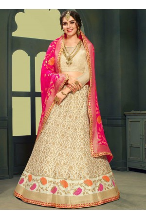 White color silk Indian wedding lehenga choli 603