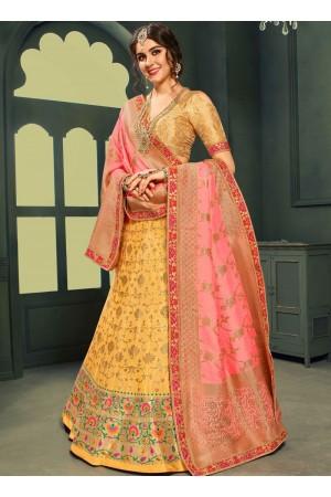 Yellow color silk Indian wedding lehenga choli 602