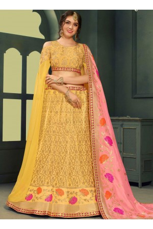 Yellow color silk Indian wedding lehenga choli 604