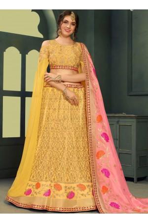 Yellow color silk Indian wedding lehenga choli 604