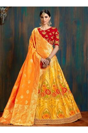 yellow and red pure banarasi silk Indian wedding lehenga choli 62004