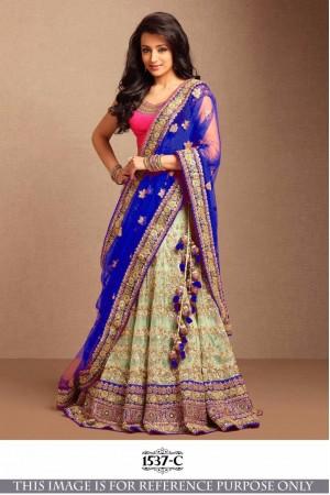 Bollywood Style Trisha Blue Color Embroidery Work Lehenga Choli