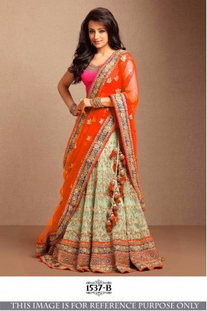 Bollywood Style Trisha Orange Color Embroidery Work Lehenga Choli