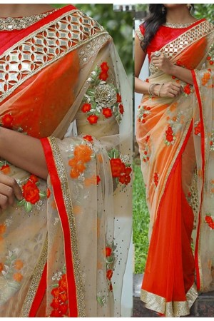 Inspired style orange and beige color georgette and net party wear saree
