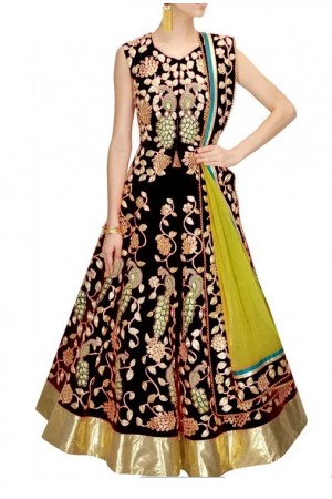 Inspired style black color bangalori silk dori work chaniya choli