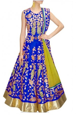 Inspired style blue color bangalori silk dori work chaniya choli