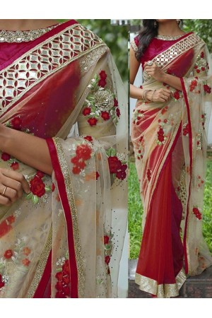 Inspired style Maroon and beige color georgette and net party wear saree