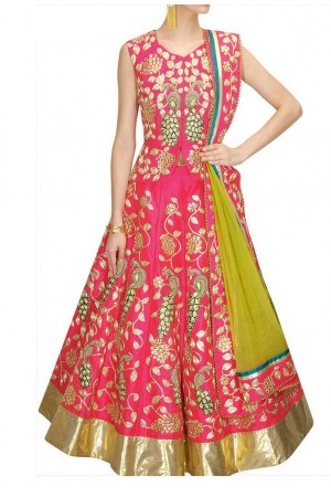 Inspired style pink color bangalori silk dori work chaniya choli