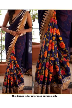 Inspired style Navy blue color half and half georgette floral saree