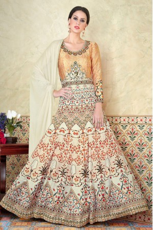 Beige white satin party wear anarkali 5303