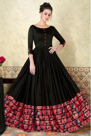 Black satin party wear anarkali 5301