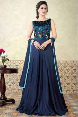 Blue color satin party wear anarkali kameez 5311