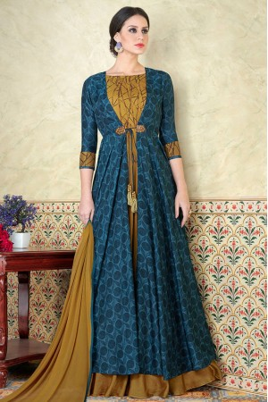 Blue color tussar silk party wear anarkali kameez 5310