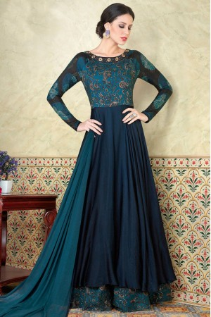 Blue satin party wear anarkali 5302