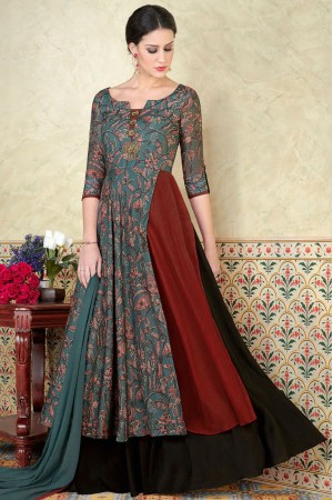 Grey color tussar silk party wear anarkali kameez 5309