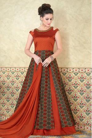 Orange color tussar silk party wear anarkali 5304
