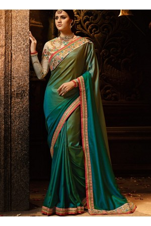 Peacock blue and green silk Party wear saree