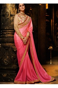 Pink color chinon Party wear saree