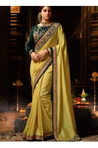 Musy yellow silk Party wear saree