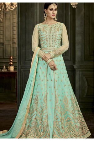 Aqua Soft Silk Floor Length Anarkali Suit 34004