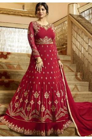 Ayesha Takia Maroon Georgette Anarkali Suit 22026