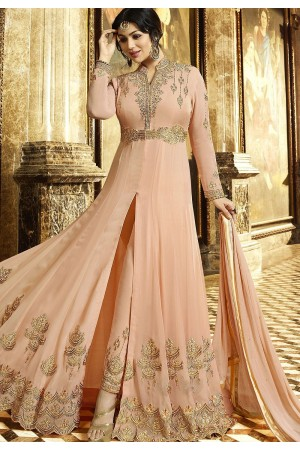 Ayesha Takia Peach Georgette Anarkali Suit 22023