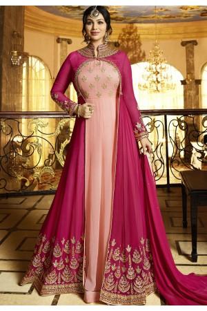Ayesha Takia Pink Georgette Anarkali Suit 22021