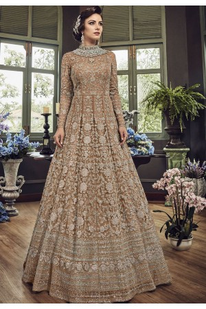 Beige Net Embroidered Long Designer Anarkali Suit 5810D
