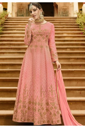 Pink Silk Embroidered Anarkali Suit 101