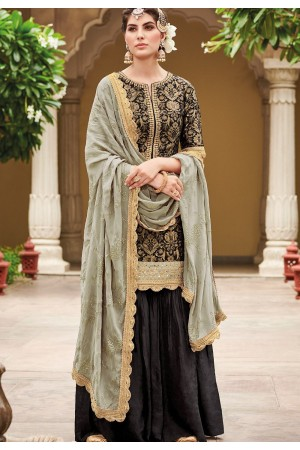 Black Dola Silk Sharara Style Pakistani Suit 40