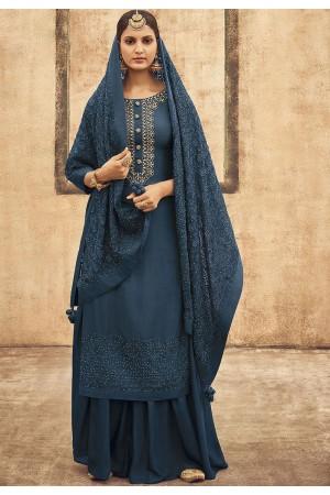 Blue Pure Silk Sharara Style Pakistani Suit 42