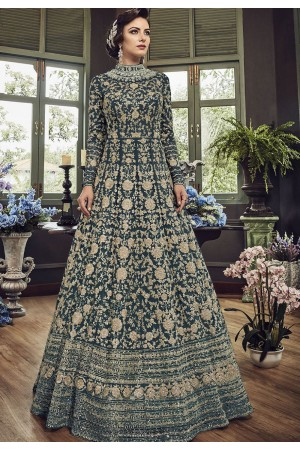 Blue Shade Net Embroidered Long Designer Anarkali Suit 5810C