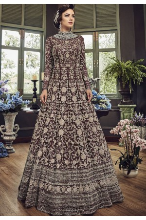 Brown Net Embroidered Long Designer Anarkali Suit 5810E