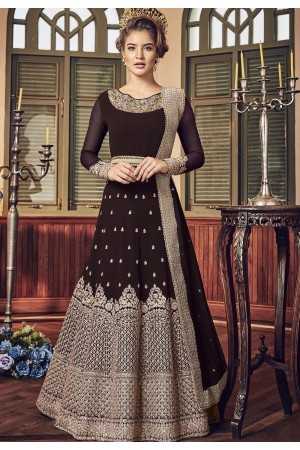 Brown Shade Georgette Floor Length Designer Anarkali Suit 5801D