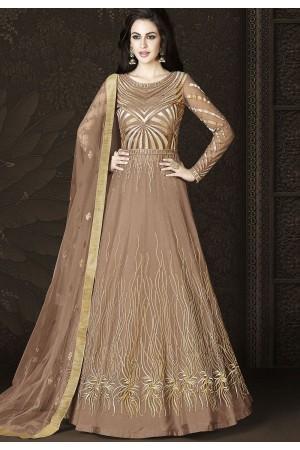 Brown Shade Net Floor Length Designer Lehenga Anarkali Suit 6429