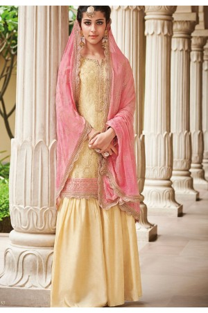 Cream Dola Silk Sharara Style Pakistani Suit 37